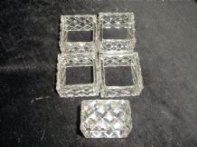 5 X VINTAGE RETRO HOBNAIL CUT LOOK GLASS SQUARE NAPKIN RINGS